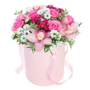 Цветы в коробке «Романтика»